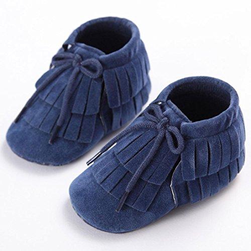 Hunpta Babyschuhe Mädchen Jungen Lauflernschuhe Kleinkind Kind neugeborenes Mädchen Jungen Tassel weiche Sohle Prewalker Schuhe (11, Grün) Blau