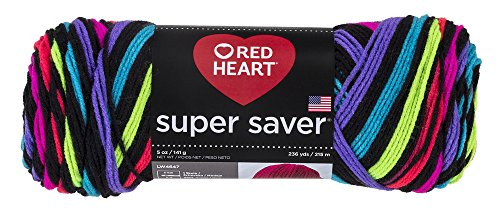 Red Heart Super Saver Garn, Almandine Streifen Stripe - Neon