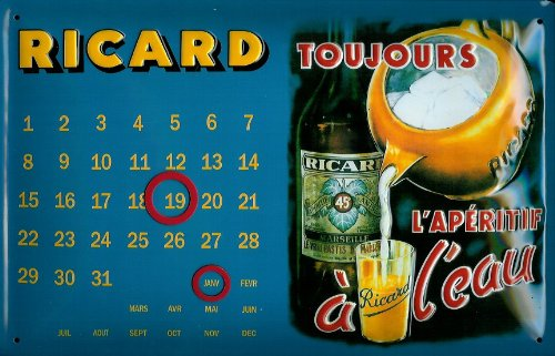 ricard-toujours-calendar-3d-embossed-vintage-tin-metal-pub-sign