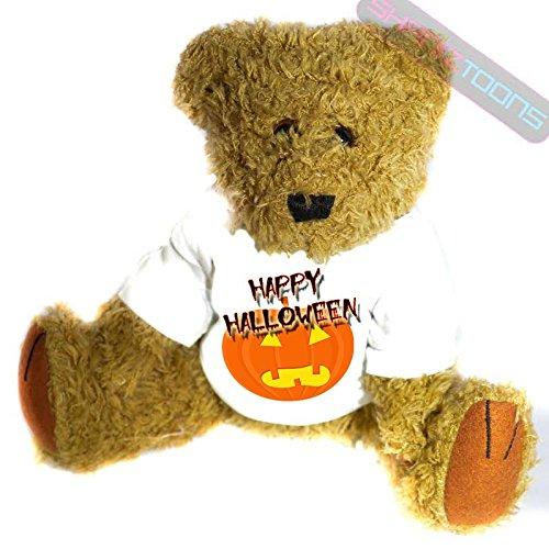 henk Teddy Bär–Mr. Pumpkin Head Geschenk bedruckt Teddy T Shirt–23cm hoch stehend (Bär Happy Halloween)