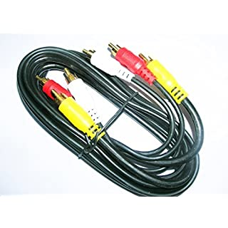 Gold Heavy Duty 3 Phono Male to Male RCA 3.0M A/V Extension Lead Triple Audio Video Cable Red White Yellow
