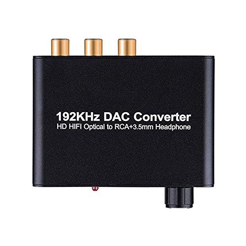 SODIAL Conversor Digital a analogico 192kHz DAC Soporta Control de Volumen Digital coaxial SPDIF a Estereo analogico L/R RCA Audio DE 3,5 mm Jack Adaptador