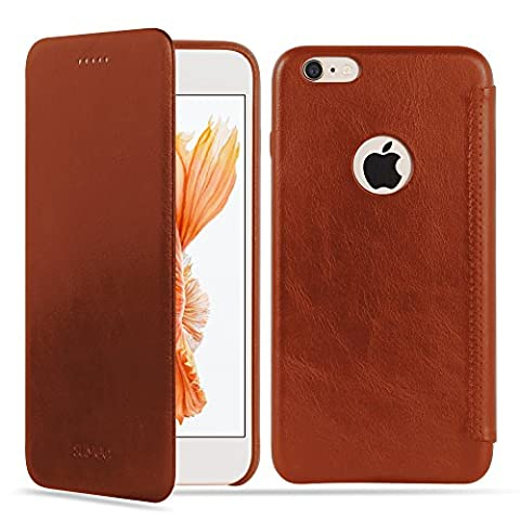 SUMGO® Apple iPhone 6, 6s Hülle echt Leder Schutzhülle Flip Cover Back Case Tasche - in Braun