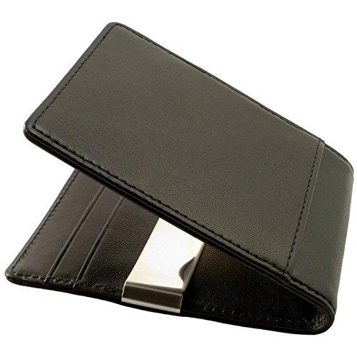 CAUTENA Premium Echtleder Portemonnaie mit Geldklammer als Kartenetui | Geldbörse mit Geldscheinklammer | Brieftasche als Kreditkartenetui mit Geldclip und RFID Schutz | edel und modern (schwarz) (Brieftasche Leder-geld-clip Schwarze)