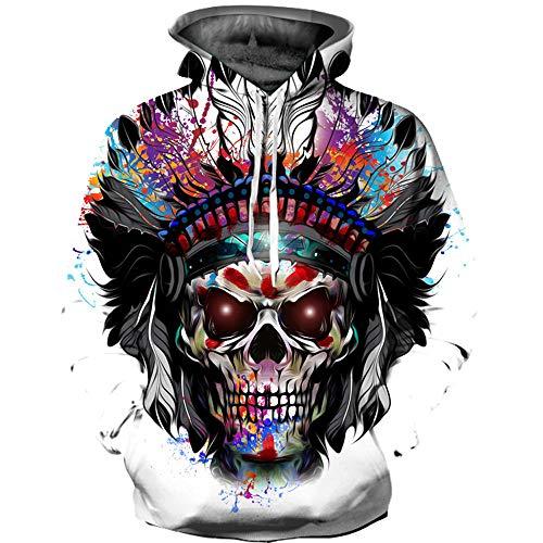 Halloween Sweatshirt Herren Damen,SANFASHION Frauen Männer Kapuzenpullover Skelett 3D Print Streetwear Langarm Hoodie Pullover Top