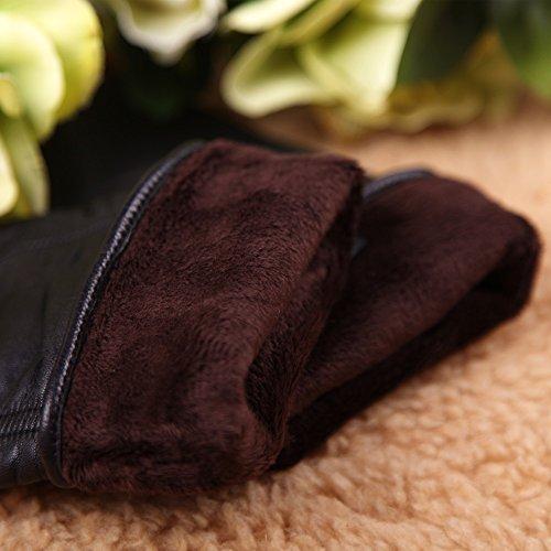 Warmen - Gants en Cuir Véritable d'Agneau pour Femme - Chauds pour l'Hiver Noir