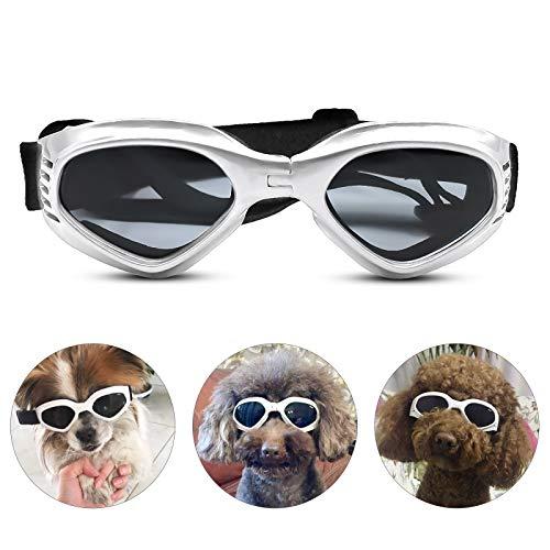 PEDOMUS Hunde Sonnenbrille Verstellbarer Riemen für UV-Sonnenbrillen Wasserdichter Schutz für kleine und mittlere Hunde Weiß
