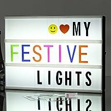 A4 LED Caja de luz letras , caja de luz de cine cinematográfica de combinación libre con 265 caracteres / Emojis, regalo de sorpresa y decoración de vacaciones perfecto