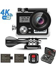 SEGURO 4K Action Cam Action Cam HD 1080P WIFI Caméra Sous-marine 16MP Sport Caméra d'action étanche Caméra Sous-marine avec Kit de Transport Mallette et Accessoires + 2 Batteries