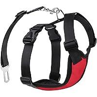Pawaboo Cinturón De Seguridad de Perro - Adjustable Vest / Malla Harness Car Safety para Mascota Chaleco de Correa con Seat Belt Lead Clip de Coche, Adecuado para Perros de 4.4 LBS - 11 LBS, Talla S, Rojo