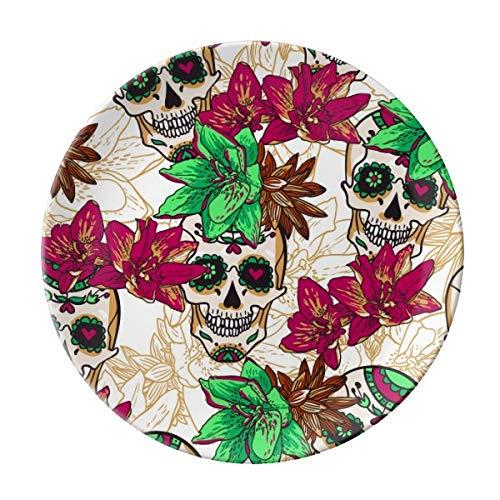 rtos Teller Keramik Essteller Blumen Totenkopf Geschirr Steingut Home Decro Runde Dessertteller ()