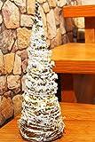 Kamaca LED Weihnachtsbaum aufwändig mit Schnee bestreut, Modern von Hand gestaltet mit Warm Weisser Lichterkette, Perfekt für Schreibtisch, Tisch, Fenster, Schrank, Treppe, Haustür, Weihnachten - Neu