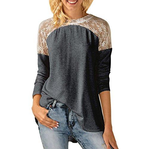 LILICAT Vêtements Col rond tempérament col chemisier à manches longues College dos creux chemisier chemise T-shirt S-2XL gray