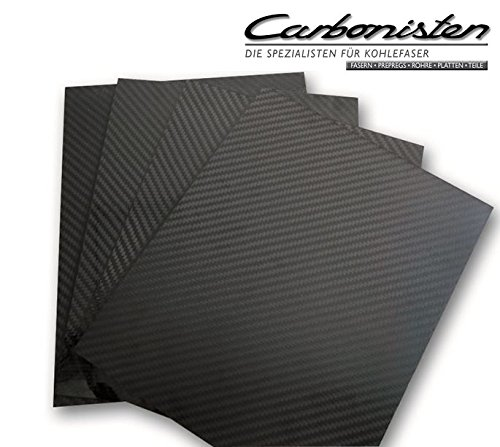 CFK-Platte, 2,0 mm dick, 500 x 500 mm (Länge x Breite) Carbon-Platte Kohlefaser Carbonfaser Zuschnitt aus CFK