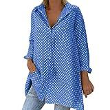 Y56(TM) Camisetas de AsimetríA para Mujer AsiméTrico de Gran TamañO Fuera del Hombro Lino Causal Una LíNea Cintura del Imperio Shirred SeñOras Halter Cuadros Una LíNea de Malla Blusas (1X-4X)