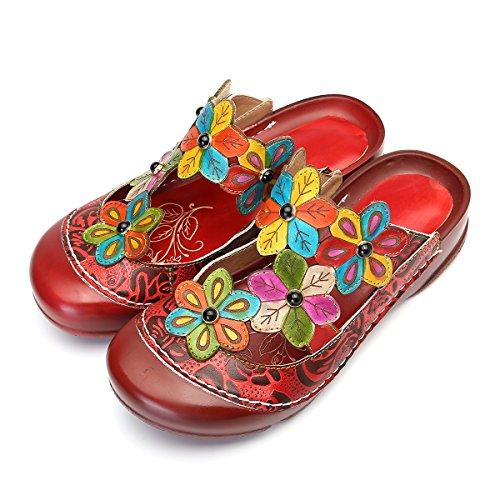 en Clogs, Sommer Leder Mokassins Plattform Pantoletten Flache Schuhe Slip-ons Vintage Slipper Bequem Blume Sommerschuhe Hollow Out Strandschuhe - Grau Rot Grun Lila, MEHRWEG ()