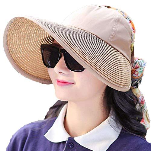 WYJHNL Damen-Sonnenhüte mit breiter Krempe und Visiermütze 360 ° UV-Schutz UPF 50+, Packable Summer Beach Caps mit abnehmbarem Neck Flap-Cover für Baseball-Angelgarten,Khaki