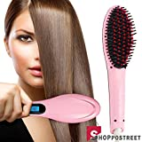 SHOPPOSTREET Fast Hair Straightener Straightening Comb Brush With Temperature Nano 3 In 1 Straightening LCD Screen With Temperature Control Display (Pink)
