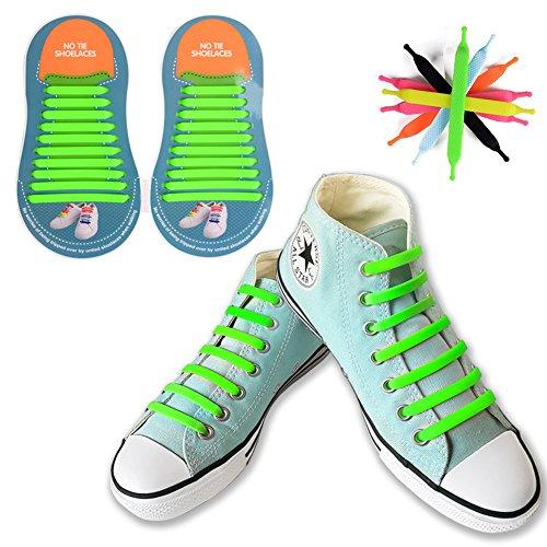 [20 pezzi] no tie lacci per scarpe, canwn silicone elastico piatto laces per adulti impermeabile athletic scarpa da corsa con multicolore per scarpe sneakerboots bordo e scarpe casual(verde)