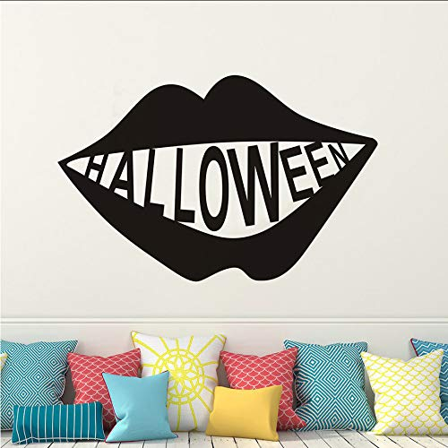 jukunlun Spooky Scary Black Big Mund Abnehmbare Halloween Vinyl Aufkleber Fenster Wandaufkleber Schablone Für Kinder Kinderzimmer Decoration90X57Cm