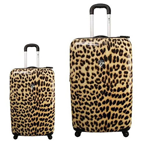 Kofferset, Gepäckset, Reisegepäck by Heys - Premium Designer Hartschalen Kofferset 2 TLG. - Novus Art Leopard Light Handgepäck + Koffer mit 4 Rollen Medium