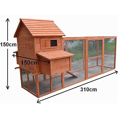 Hühnerstall / Hühnerhaus mit Freigehege aus Holz ca. 310 x 150 x 150 cm - 7