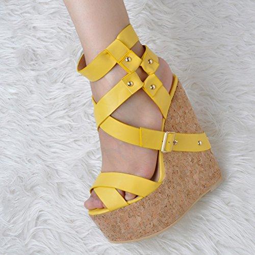 Kolnoo Damen Faschion 15cm Himmel Wadge Ferse Crosscriss Bügel Partei Sandelholz Schuhe Yellow