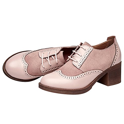 Scarpe Rosa In Finiscono Stringate Derby Rismart Ha Pizzo Pelle Donna Wingtips Brogue wxvHSnAqPC