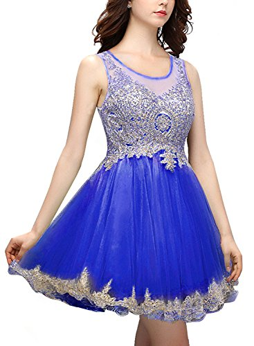 Bbonlinedress Robe courte de cérémonie Robe de soirée Robe de bal emperlée en tulle Bleu Saphir