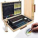Artina Set Pittura in Valigetta Leonardo 45 unità: pennelli, acrilici, pastelli, manichino, ECC. - per pitturare & disegnare - Kit Pittura e Disegno Artistico