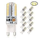 G9 LED Lampe, Jpodream 5Watt 64X 3014SMD G9 LED Birnen, 450LM, Ersatz für 45W Halogen Lampen, Warmweiß 3000K, 360° Abstrahlwinkel, AC220-240V - 10er Pack