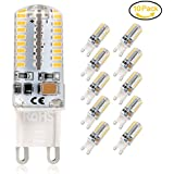 Bombilla LED G9, 5Watt Dimmable LED Lámpara, Equivalente a 45 W, Blanco Cálido (3000 K), 450 Lúmenes, AC 85-265V, 10 Unidades by Jpodream