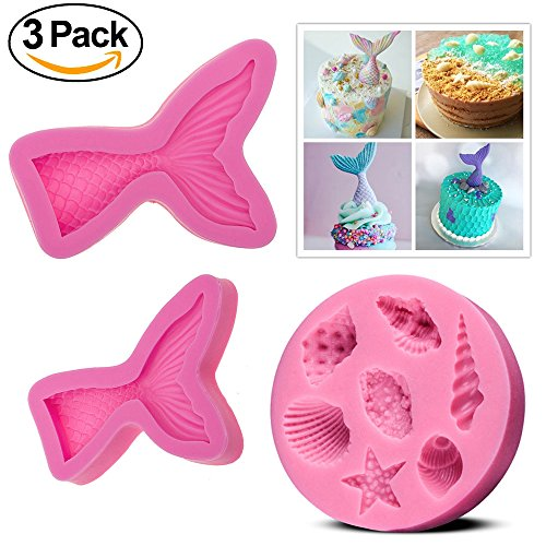 CAVN (Set of 3) Silicone Fondant Cake Moulds, Non-stick BPA Free Chocolate, Jelly, Candy Mold, Cupcake DIY Baking Decoration Tool, Mermaid Tails (Large + Small)+ Sea Shells
