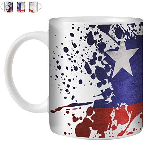 Stuff4 Tee/Kaffee Becher 350ml/Chile/Flagge Splat Land/Weißkeramik/ST10