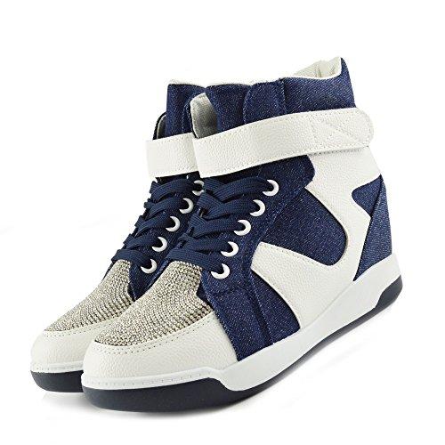 Kick Footwear - Donna Formatori Occasionali Sneakers Glitter Luccicanti Di Lacci Di Scarpe Denim White