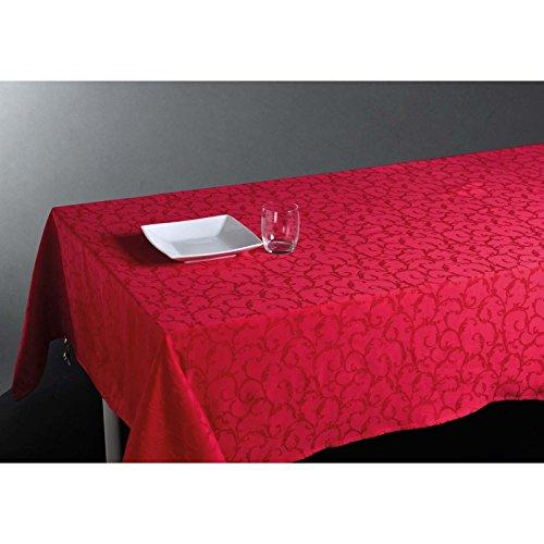 Nappe rectangulaire (L300 cm) Jacquard Rouge