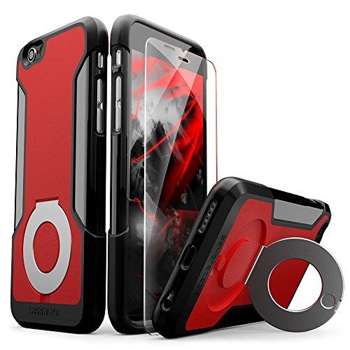 Cas de l'iPhone 6, iPhone Affaire 6s, Gris Noir SaharaCase® Kit de protection Béquille * Bonus en verre trempé Protecteur d'écran * [Robuste Slim] amortisseur Bumper appareil photo intégré Protection  Noir, Rouge