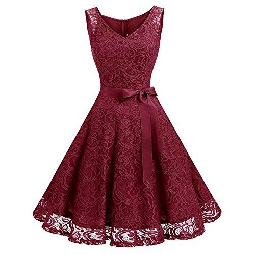 amen Knielang V-Ausschnitt Rockabilly Kleid mit Spitzen Brautjungfernkleid Faltenrock Partykleid Cocktailkleid-WR-XL (Klassisches Kleid Bis)