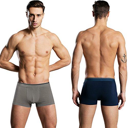 Aibrou Herren Unterhosen Unterwäsche Männer Baumwolle Boxershorts Pants Retroshorts Dunkelblau/Grau
