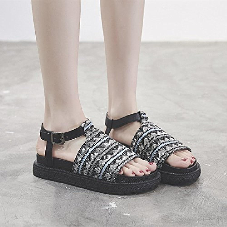 18298be4467c LYSLOLI Bohemian sandals female ciproant-4966 summer flat Roman student  wild student retro thick bottom Roman sponge cake women s shoes B07G3F4G9S  Parent ...