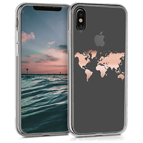 kwmobile Apple iPhone X Hülle - Handyhülle für Apple iPhone X - Handy Case in Rosegold Transparent