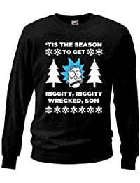 Adults Black Rick And Morty Christmas Tis the Season to Get Riggity Wrecked Sweatshirt Xmas gift Jumper