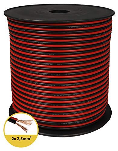 toolcity Lautsprecherkabel (Zwillingslitze) 2x2,50mm² (Boxenkabel/Audiokabel) 100 m rot/schwarz 100 Audio-kabel