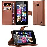 Cadorabo - Funda Nokia Lumia 630 / 635 Book Style de Cuero Sintético en Diseño Libro - Etui Case Cover Carcasa Caja Protección (con función de suporte y tarjetero) en MARRÓN-CHOCOLATE