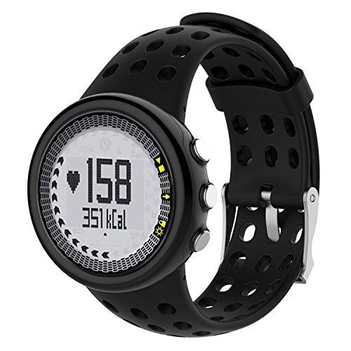 Bemodst Für Suunto M1 M2 M4 M5 Serie Armband, Ersatz Silikon SUUNTO Quest Uhrenarmband Uhr Ersatzarmbände Uhrenarmbänder Handschlaufe Uhr Gurt (Schwarz)