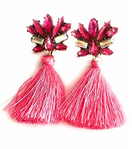 Meine Glitzerwelt Statement Ohrhänger in Pink mit Buntem Strass und Stoffquasten Ohrringe