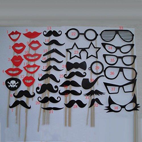 Morza 38pcs auf Einem Stock Schnurrbart Photo Booth Requisiten Hochzeit Spaß-Geburtstags-Bevorzugung