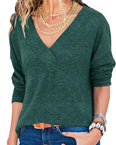GenericDamen Sweatshirt Langarmshirt V-Ausschnitt Pullover Casual Sport Shirt Oberteile mit Tie Back Neu, Neu-grün, S