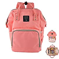 Diaper Bag Backpack Multi-Function Waterproof Travel Tote Nappy Bags Organizer with Insulated Pockets for Baby Care Large Capacity Stylish and Durable Mom Bag (Orange Pink)