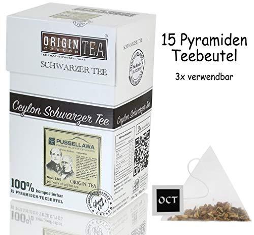 Origin Ceylon Tea 100% Purer Ceylon Schwarzer Tee 15 Pyramiden-Teebeutel direkt von der Plantage aus Sri Lanka
